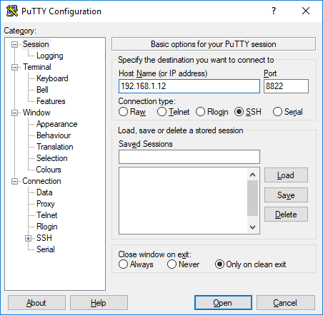 conectar putty desde synology