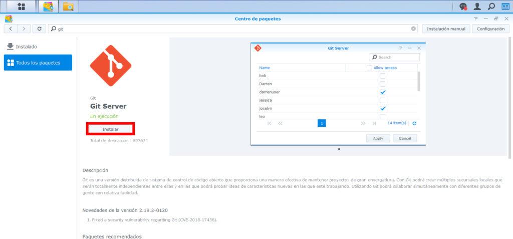 Instalar Git Server en synology