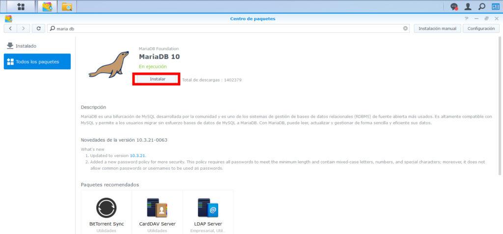 Instalar MariaDb 10 Server en synology