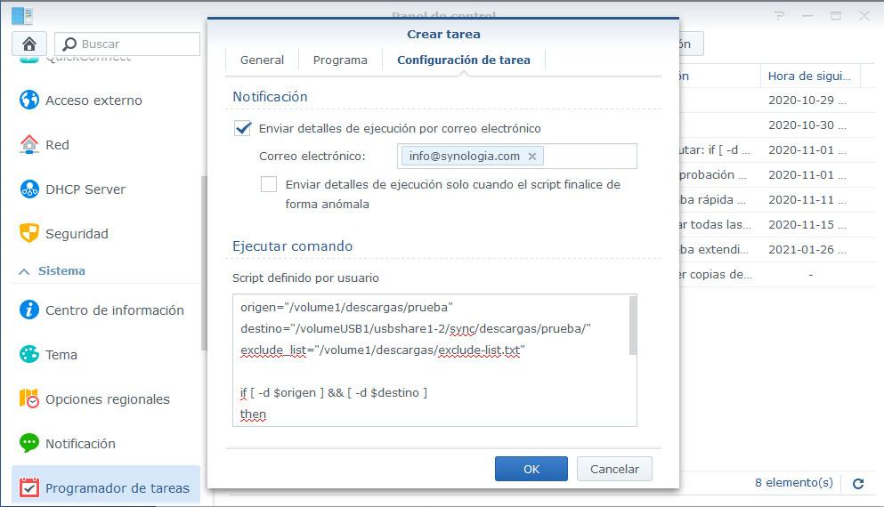 Programador de tareas synology - configuración de tarea
